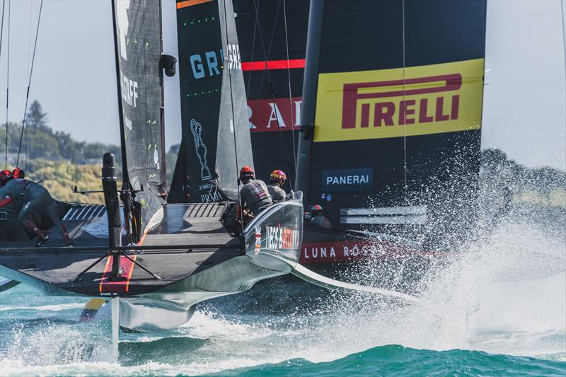 INEOS TEAM UK on the water with Luna Rossa during official practice racing ahead of the PRADA Cup